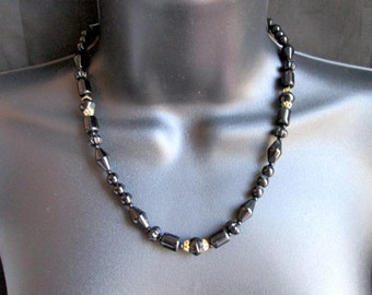 Vintage Black Faux Jet Onyx Glass Beaded Necklace with Round, Bicone, Cylinder & Fancy Fluted Rondelle Beads Gold Tone Caps Art Deco Style