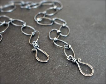 Sterling silver chain with two hook clasps. Large oval link chain with front clasp for pendants. Select your length.