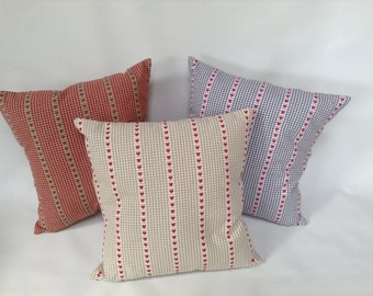 vintage shabby chic red love hearts fabric cushion cover