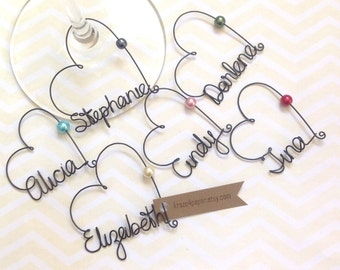 6 Personalized Wine Charms Will you be my Bridesmaid Wine