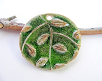 Forest Green Leaf Pendant Stoneware Clay