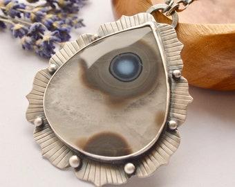 Eye Agate Necklace, Pseudomorph Agate Necklace, Large Lotus Leaf Pendant, Metalsmithed Silver, Statement Necklace, Bold Style, Bezel Work
