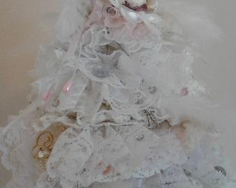 Handmade Shabby chic Christmas tree art.
