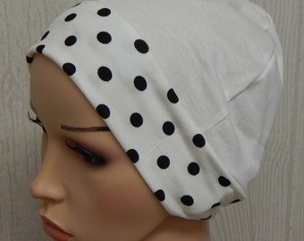 Cream polka dots skull cap, cancer head wear, full head covering, sleeping bonnet, chemo hat, hair loss jersey cap, alopecia head wrap