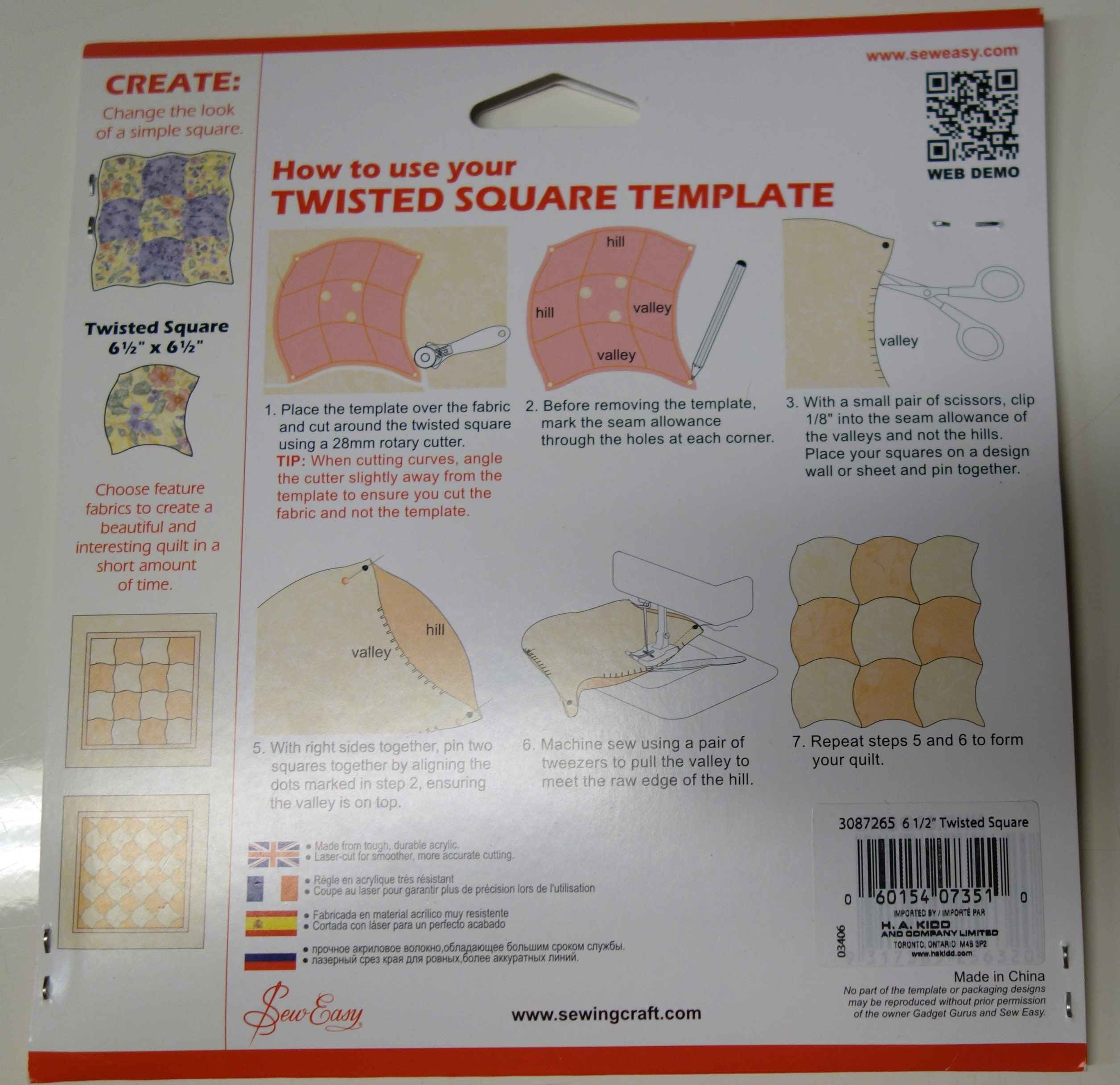 Twisted Square Plastic Quilt Template - Sew Easy - Patchwork Quilt ...