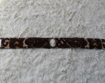 Vintage Mid Century European Cut Velvet Fabric Vintage Cameo Handmade  Boho Choker