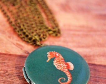 Seahorse Locket Necklace, Seahorse Necklace, Nautical Locket, Nautical Jewelry, Nautical Seahorse, Seahorse Jewelry, Seahorse Locket
