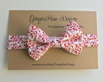 Christmas Bow Tie; Peppermint Bow Tie; Red and White Bow Tie; Holiday Bow Tie; Boy Bow Tie; Toddler Bow Tie; Adjustable Bow Tie
