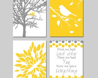 Yellow Grey Nursery Art - Three Birds in a Tree, Bird on a Branch, Abstract Floral, First We Had Each Other - Set of Four 8x10 Prints