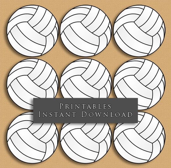 2.5 Volleyball Printable Cupcake Toppers Sports Theme