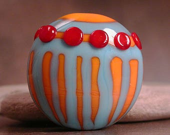 Artisan Glass Lampwork Focal Bead, Turquoise Blue & Orange, Divine Spark Designs, SRA