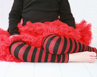 Red and Black Striped Girls Leg Warmers