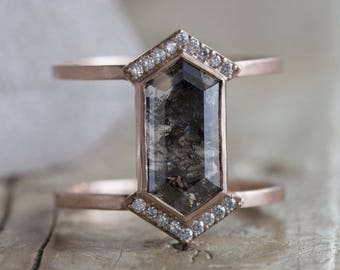 Natural Black + White Hexagon Diamond Engagement Ring- Double Band