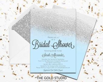 Blue & Silver Glitter Bridal Shower Invitation | Glamorous Modern Bridal shower invite | Elegant shower invitation | FREE WORLDWIDE SHIPPING