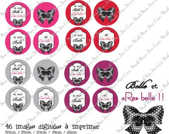 """Digital images for cabochons """"BELLE & rebel"""" (46 images) to cut and stick on your creations"""