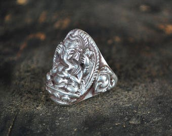 Ganesha Sterling Silver Ring - Size 8.5 - Large