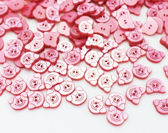 Pink Pig Button, Animal Buttons, Two Holes Button, Smiley Pig Button, Children Button, Baby Button, Unique Button, Blouse Button, 11mm