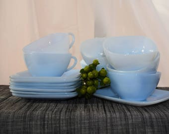 Set of 8 Azurite Anchor Hocking Fire King Glass Tea Cups and Saucers