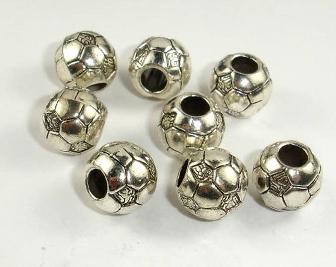 Metal Beads, Metal Spacer, Large Hole Round Spacer, Zinc Alloy, Antique Silver Tone, 11mm, 10 pcs, Hole 4.5mm (006852023)