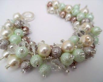 Pearl Wedding Bracelet, Pearl Bridesmaid Jewelry, Mink Mint Green Ivory, Cluster Bracelet, Chunky Jewelry, Pastel Wedding, Beaded Bracelet