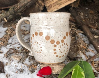 12.5 Ounces - Ebb and Flow - Spiral Mug - White Speckled Glaze - Wheel Thrown Pottery