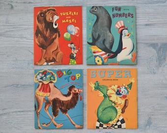 Vintage Children's Activity Coloring Books - Set of 4 1950's Midcentury Kids Nursery Decor