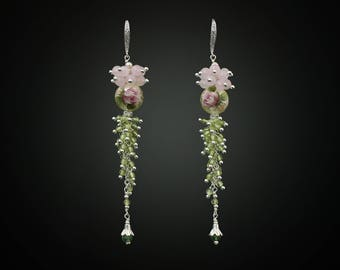 Cluster Earrings Green Earrings Long Earrings Tensha Bead Earrings Gemstone Earrings Peridot Earrings Bridesmaid Earrings Everyday earrings