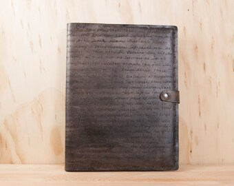 Leather Sketchbook Personalized - Handmade in the Smokey Pattern in antique black - Custom Leather Journal
