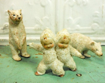 Antique German Bisque Polar Bears and Snow Babies, Three Pieces