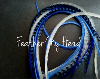 Feather Hair Extensions, Long Whiting Grizzly Real Rooster Feathers, 9-12 inches long ,New For 2013 Fresh Picked Cotton