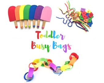 Rainbow Toddler Busy Bags, Toddler Gift BUNDLE - 3 Montessori Toddler Learning Toys - Travel Games - Educational Activities for Toddlers