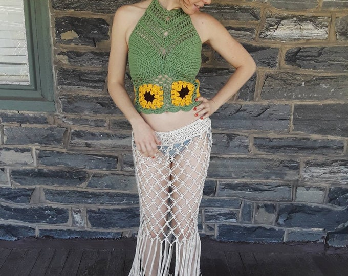 SUNFLOWER Festival top, crochet halter top, music festival clothing, summer top, crochet boho top, gypsy clothing, hippie, beach cover up,