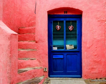 Fine art print photography : Pink house, blue door, France photography, door photography, blue door, Mediterranean decor.
