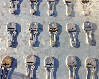 Vintage Metal Numbered Laundry Pins