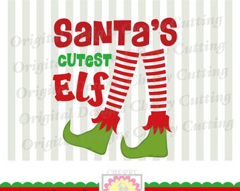 Santa's Cutest Elf SVG eps jpg png, Elf svg, Christmas Elf Silhouette Cut Files, Cricut Cut Files CHSVG22-Personal and Commercial Use