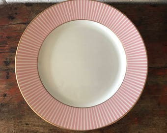 """GORHAM MASTERPIECE PINK Stripe 12"""" Charger Service Plate Gold 715P- 9 Ava"""