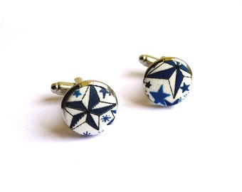 cufflinks fabric liberty Adelajda blue backing with gold or silver option