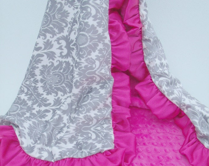 Minky Blanket in Gray Damask and Fuchsia