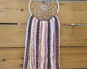 Taupe, White and Pink Floral Hoop Dreamcatcher, Boho Wall Hanging, Bedroom Decoration, Handmade Dreamcatcher, Hippie Wall Decoration