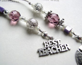 TEACHER APPRECIATION GIFT Bookmark Beaded Book Thong in Purple, Silver, and Pearl and Personalized with Pewter Charm