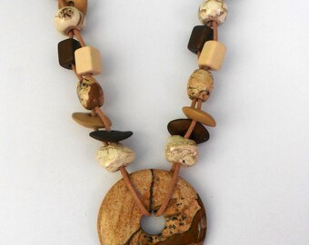 Brown and tan jasper donut necklace