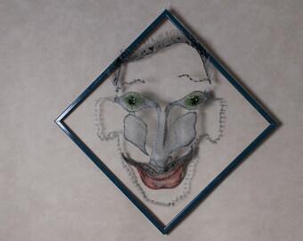 Wabi sabi  Lawyer Gift Joker Metal wall art Wire Metal Mesh Sculpture Office decor Git for him Humoristic Boyfriend Father day Contemporary