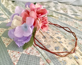 Purple and pink flower vine crown