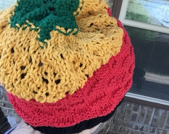 Rasta tam hat 100% cotton hand knit by me
