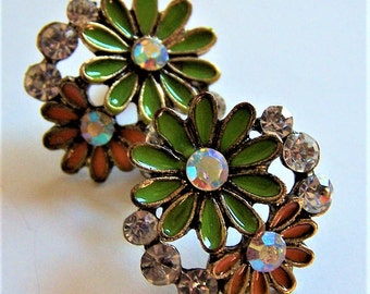 Vintage Fun, Colorful Playful Enamel Floral Stud Earrings