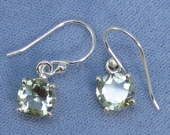 8mm Round Prasiolite Green Amethyst Sterling Silver Earrings - Leverbacks Available - 211136