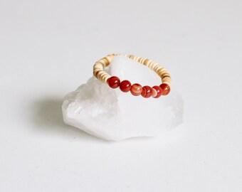 Carnelian Bracelet With Natural Coconut Shell /  KO-MALA Yoga Bracelet /Orange Quartz / Healing Crystal Jewelry / Boho Style