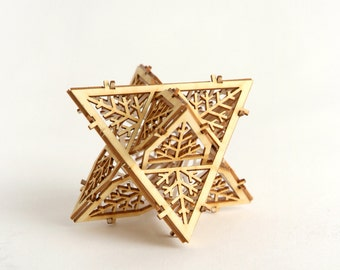 DIY Model Kit, Architectural Ornament, Star of David, Sacred Geometry, Laser Cut