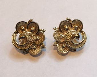 Vintage Kramer Gold Tone Fun and Funky Clip On Earrings