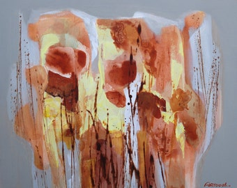 Orange Painting Brown Abstract Painting Original Painting Modern Painting